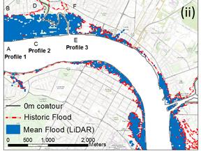 Lidar DEM, flood extent