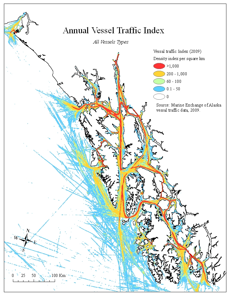 Annual Vessel Traffic Index of all vessel types in Southeast Alaska from the Marine Exchange of Alaska vessel traffic index, 2009.