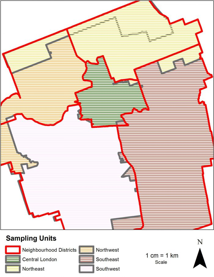 Map of final sampling unit boundaries with overlay of original neighbourhood districts