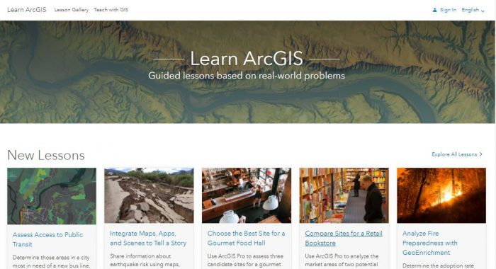 The Learn ArcGIS website