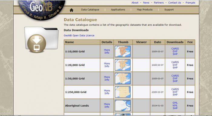 The Service New Brunswick GeoNB Data Catalogue