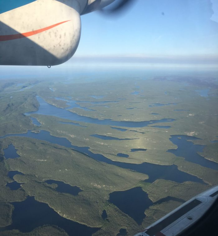 A view of a landscape of forests and lakes from a float plane
