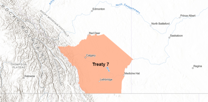 Map showing geographical region associated with Treaty 7