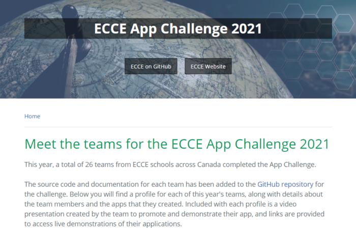 Screenshot of the ECCE App Challenge 2021 webpage on GitHub