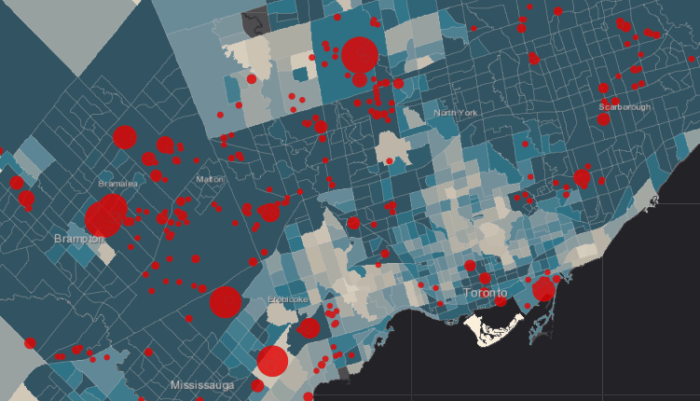 Map showing Toronto divided into census tracts and dots representing industrial facilities that emit air pollution