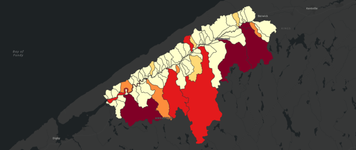 Map showing tertiary watersheds, emphasizing areas with higher dam density.