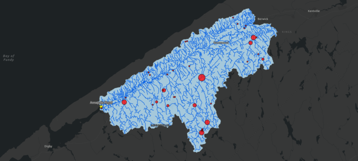 map showing dams highlighted emphasizing relative total stream length in km.