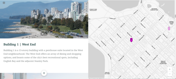 Sample view from an ArcGIS story map showing a map location, photo, and description of a building in the West End of Vancouver