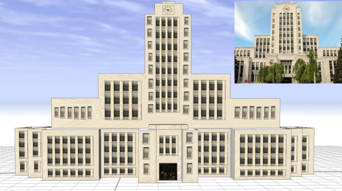 3D model of Vancouver City Hall viewed in arbitrary space.