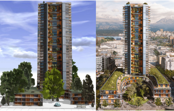 Side-by-side comparison of a 3D model and a conceptual image of Canada's Earth Tower.
