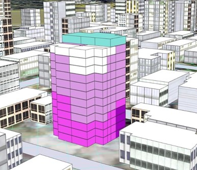 3D view of buildings generated in CityEngine, with units within a specific high-rise building coloured differently based on relative suitability of each unit.