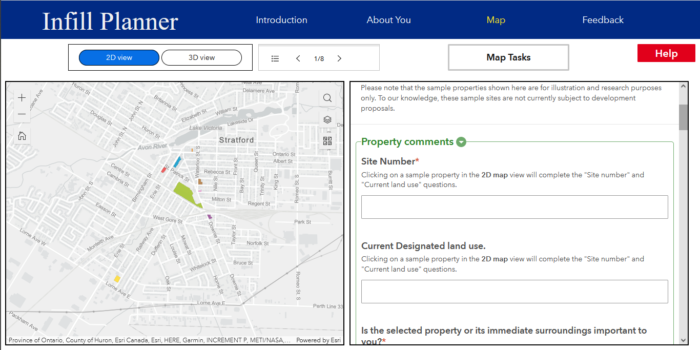 A preview of the Infill Planner app showing a 2D map view with a survey form.